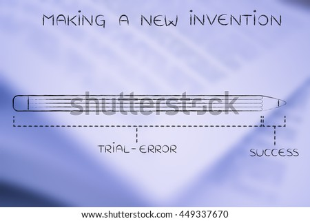 making a new invention: diagram with pencil metaphor, long trial error phase before reaching success - stock photo