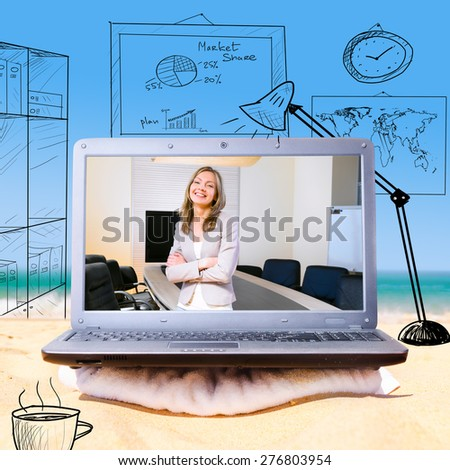 making a video call using laptop on beach - stock photo