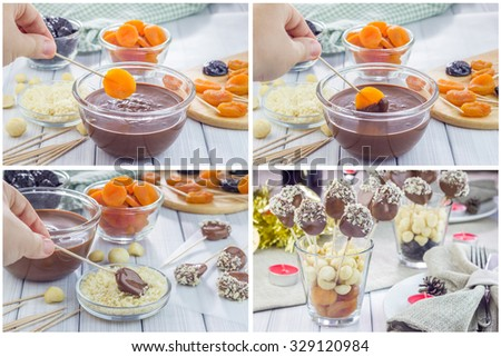 Making apricot and prunes lollipops, covered with chocolate and macadamia nuts, collage - stock photo