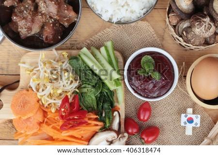 Making Bibimbap korean food delicious - stock photo