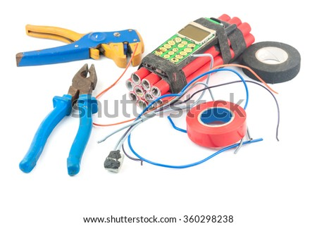 making bomb with phone. A close up - stock photo