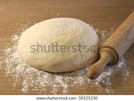 Making bread dough, wheat, flour - stock photo