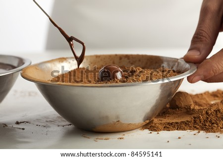 Making chocolates - stock photo