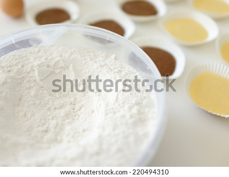 Making cupcake with shallow depth of field - stock photo