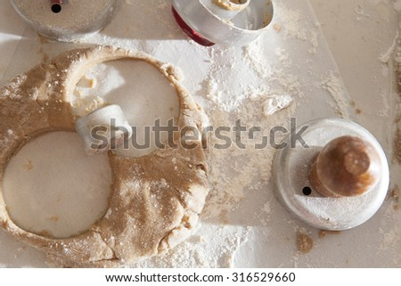 making donuts from scratch - stock photo