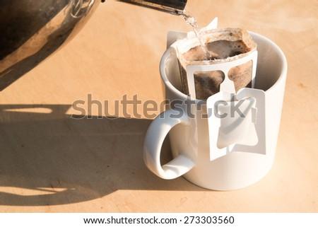 making drip coffee  - stock photo
