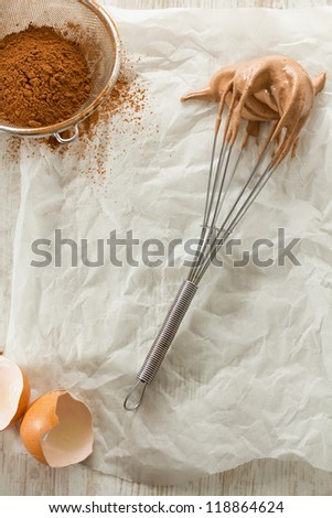 Making homemade croissant, with kitchen utensils - stock photo