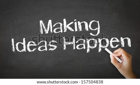 Making Ideas Happen Chalk Illustration - stock photo