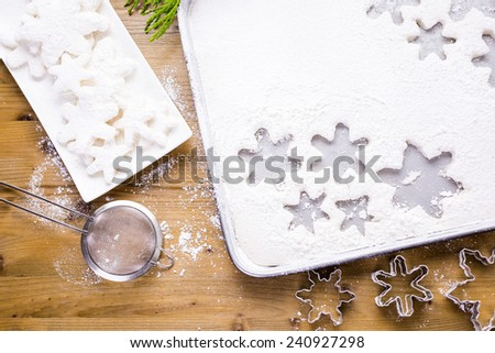 Making marshmallows in shapes of snowflakes for garnish hot chocolate.