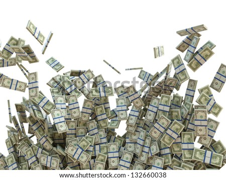 Making money concept: bunches of US dollars isolated on white - stock photo