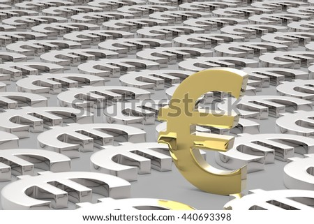 Making Money / Euro Currency in Gold and Silver / 3D Rendering