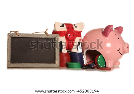 making money gambling piggybank cutout - stock photo