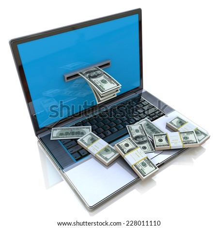 making money online - withdrawing dollars from laptop - stock photo