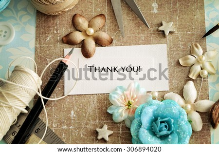 making of greeting card - stock photo