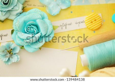 making of scrapbook greeting card - stock photo