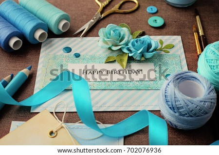 Making scrapbook greeting card tools on stock photo 100 legal making of scrapbook greeting card tools on desk m4hsunfo