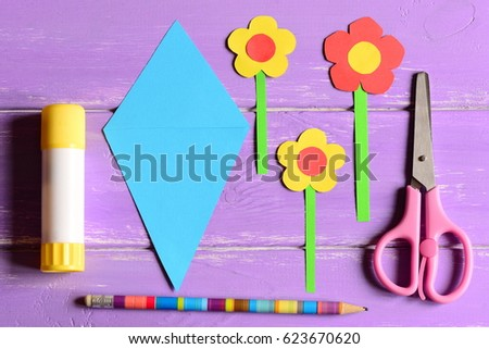Making Paper Crafts Mothers Day Birthday Stock Photo Royalty Free