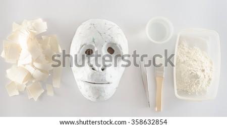 making paper mache - stock photo