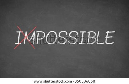 Making possible the impossible. Positive attitude concept. Chalkboard - stock photo