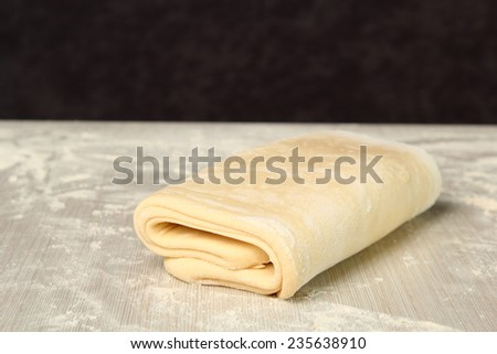 Making Puff Pastry. Dough ready before chilling. - stock photo