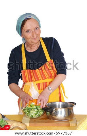 Making soup with  fresh healthy colorful  seasonal vegetables. Nutrition, food  concept - stock photo