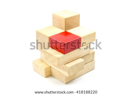 making structure from wooden cube block isolated on white background,business cooperation concept