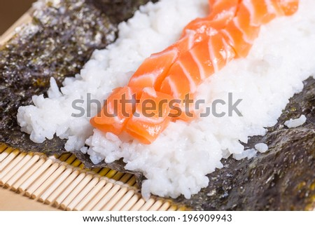 Making sushi to eat at home