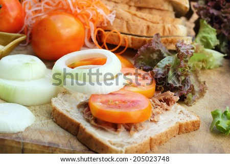 making tuna sandwich with fresh vegetables