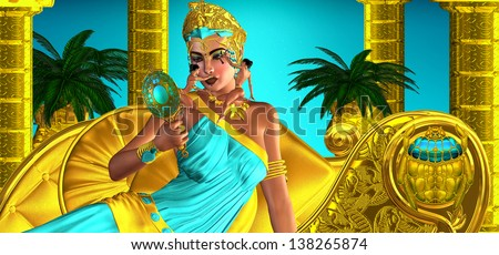 Making Up Egypt. They said she often made decisions that changed the very axis of the world while enjoying the gentle caressing of cosmetic brushes that applied beauty upon her face. Egyptian fantasy. - stock photo