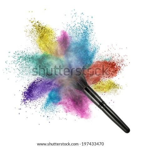 makup brush with color powder isolated on white - stock photo