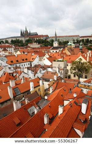 Mala Strana, view over Charles Bridge and old town. Prague. Czech republic.