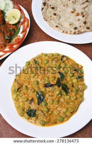Malabar green peas curry from India