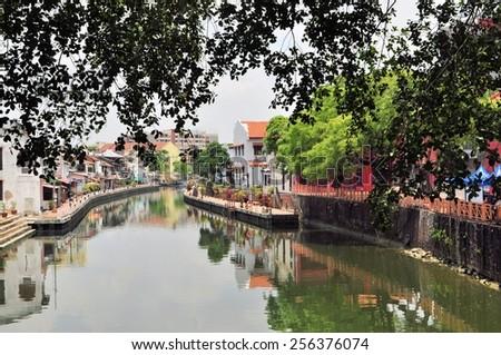 Malacca City Riverside Promenade, Malaysia. Malacca is listed as UNESCO World Heritage Site since 2008 - stock photo
