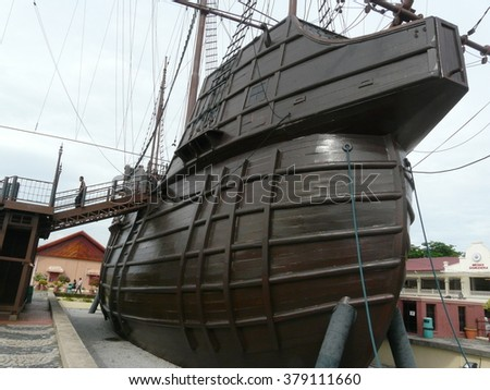 MALACCA, MALAYSIA - AUGUST 27, 2015: Malacca Maritime Museum at Malacca city  Malaysia. Malacca has been listed as a UNESCO World Heritage Site since 2008.