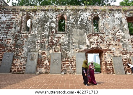 MALACCA; MALAYSIA - AUGUST 1 2015 : St Paul's Church in Malacca Malaysia. St. Paul's Church is a church that was built in 1521; the oldest church building in Malaysia and Southeast Asia.