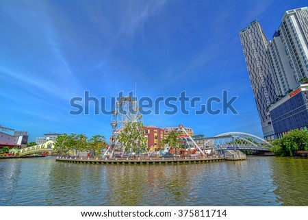 MALACCA, MALAYSIA - JAN 31: Malacca eye on the banks of Melaka river on JAN 31, 2016 in Malacca, Malaysia. Malacca has been listed as a UNESCO World Heritage Site since 7 July 2008.