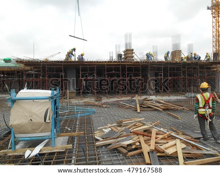 MALACCA, MALAYSIA -JUNE 13, 2016: Construction site in progress at Malacca, Malaysia during daytime. Daily activity is ongoing.