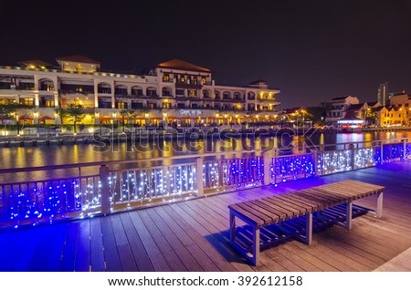MALACCA, MALAYSIA - March 7, 2016: Beautiful night view at Malacca riverside the capital city of the Malaysian state of Malacca. It was listed as a UNESCO World Heritage Site on 7 July 2008   - stock photo
