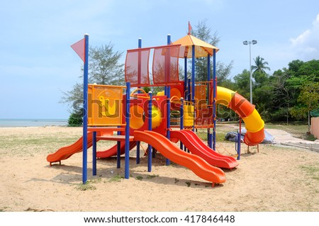MALACCA, MALAYSIA -MAY 02, 2016: Children outdoor playground in the public park. It was design with few different themes and colorful to give different experience to the kids.