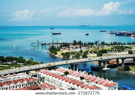 Malacca, Malaysia, top view - stock photo