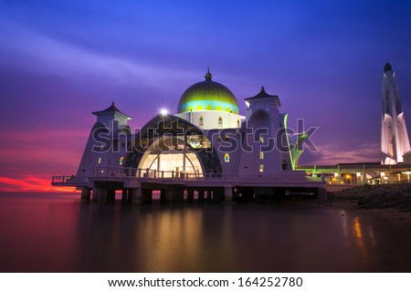 Malacca Straits Mosque (Masjid Selat Melaka) during sunset at Malacca, Malaysia, - stock photo
