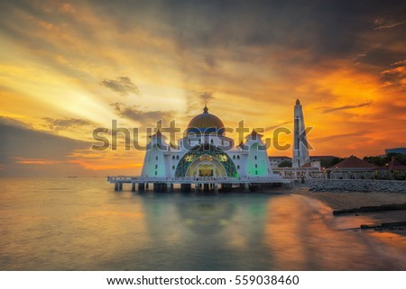 Malacca Straits Mosque ( Masjid Selat Melaka), It is a mosque located on near Malacca Town, Malaysia.