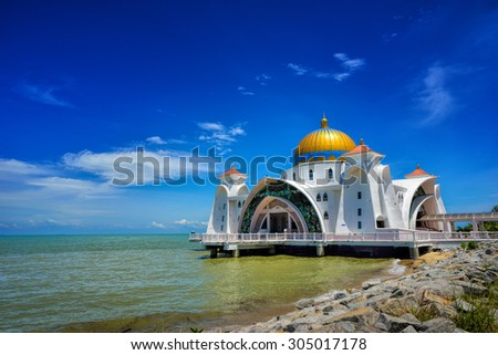 Malacca Straits Mosque ( Masjid Selat Melaka), It is a mosque located on the man-made Malacca Island near Malacca Town, Malaysia. Construction cost of the mosque is about MYR10 million. - stock photo