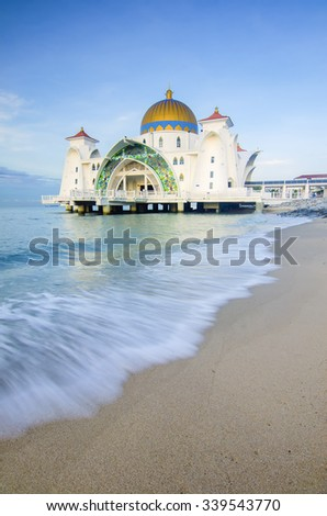 Malacca Straits Mosque ( Masjid Selat Melaka), It is a mosque located on the man-made Malacca Island near Malacca Town. Malaysia. Construction cost of the mosque is about MYR10 million. - stock photo