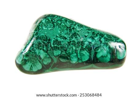 Malachite green stone, semi-precious mineral on a white background. - stock photo
