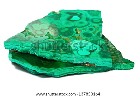 Malachite isolated on white background with shadow - stock photo
