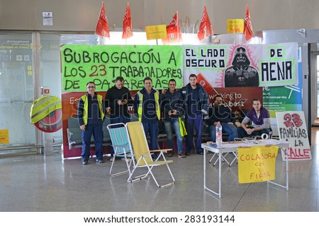 MALAGA AIRPORT, SPAIN, NOVEMBER 21, 2013. Airport workers striking and demonstrating at the Malaga airoorti in Spain, on November 21st, 2013.
