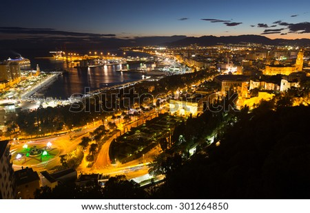 Malaga and Mediterranean in  evening.  Spain