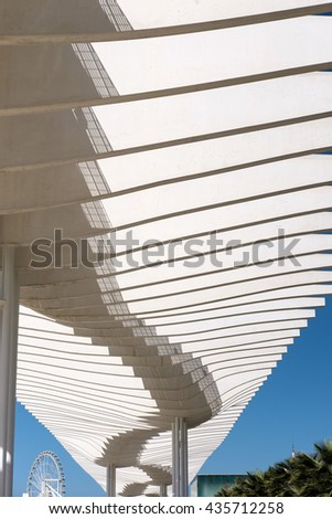 MALAGA, ANDALUCIA/SPAIN - MAY 25 : Modern Pergola in the Harbour Area of Malaga Spain on May 25, 2016 - stock photo