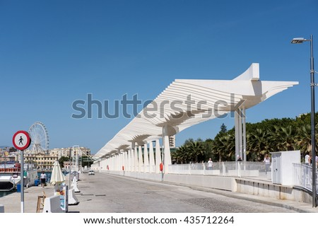 MALAGA, ANDALUCIA/SPAIN - MAY 25 : Modern Pergola in the Harbour Area of Malaga Spain on May 25, 2016. Unidentified people - stock photo